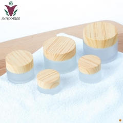 20pcs 15ml Glass Jar Cream Bottles Round Cosmetic Jars Hand Face Cream Bottle with wood grain cover PP inner liners