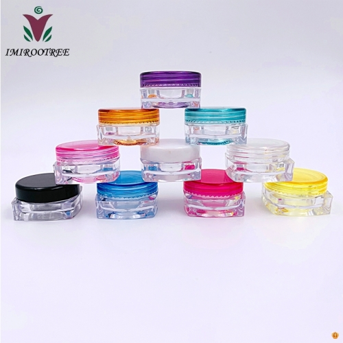 25pcs 3g gram Colored Caps on Clear Jars, 3mL Empty Cosmetic Jars Lip blam, Lip Gloss, Clear with Colorful Lids, Tiny Mini Pot