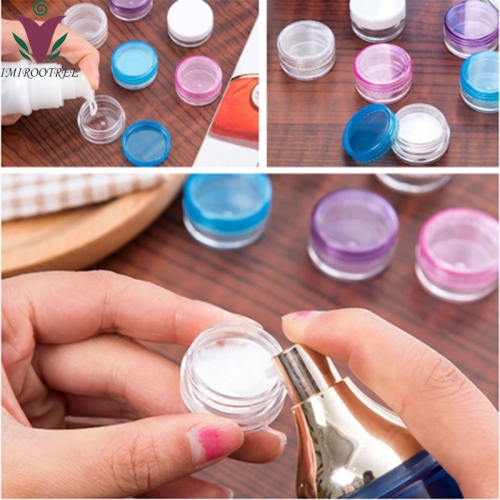 50pcs/lot 10g cosmetic jar with black cap, plastic cream travel container for cosmetic packaging