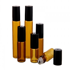 5pcs/lot 10ml empty glass refillable amber roller bottles for essential oils packaging