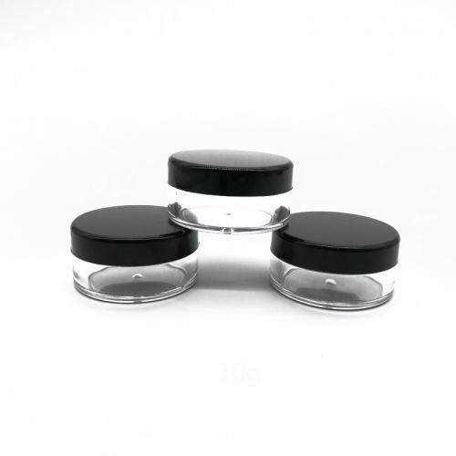 12pcs/lot 10g Black Lid Empty Jar,  plastic cosmetic makeup jar for skin care cream