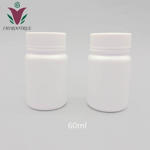 Free shipping 100pcs/lot 60cc 60ml HDPE white Capsule bottle, Plastic empty refillable pill Powder bottle with Screw Cap