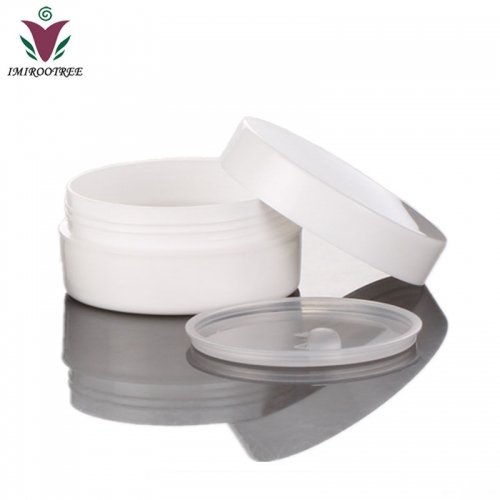 200pcs/lot 5g 5ml PP White mini cosmetic travel jar for eye cream, plastic refillable empty cream jar with hollow bottom