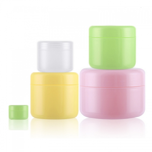 Freeship 50pcs/lot 50g 50ml colored plastic empty cosmetic containers,  cosmetic jar for boby cream