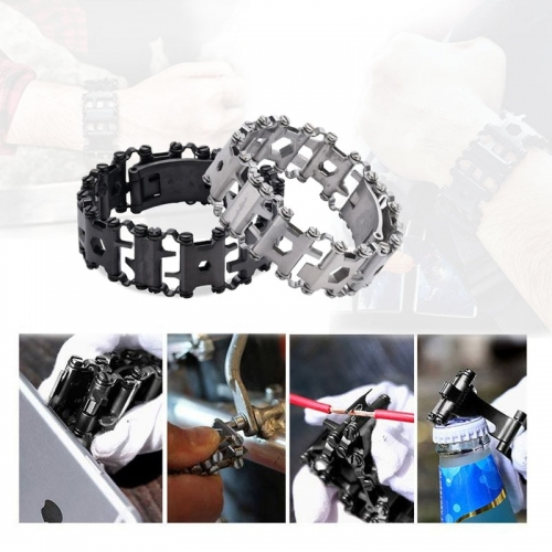 Freeship Multi Tool Bracelets Repair Wristband Stainless Steel Bolt Driver  Kit Screwdriver Bicycle Camping Travel Emergency Kit